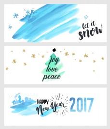 蓝色水彩圣诞新年横幅海报矢量