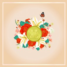 复古婚礼花朵广告背景