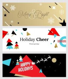 几何潮流圣诞新年横幅海报矢量
