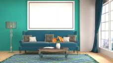 淡雅蓝色系列客厅家装效果图图片