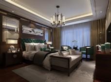 新中式卧室效果图MAX源文件下载