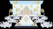 巴洛克蓝色婚礼主舞台效果图