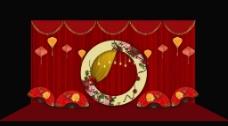 合影中式婚礼红色婚礼设计效果图