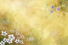 手绘蓝色小花背景墙