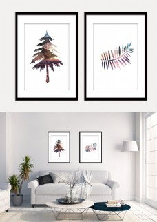 现代时尚精致几何树和树叶形状装饰画