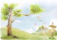 手绘大树插画背景墙