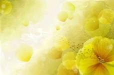 手绘黄色花朵背景墙