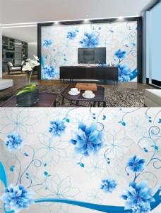 蓝色花朵简约背景墙