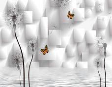 3D方框蒲公英背景墙