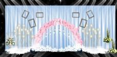 蓝色樱花拱门系列婚礼照片墙背景墙效果图