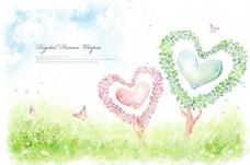 心形树木手绘背景墙