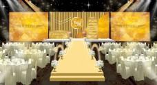 金色主背景婚礼效果图婚礼舞台