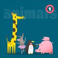 可爱卡通长颈鹿企鹅兔子矢量图
