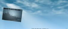 晴空白云中的图片字幕展示模版