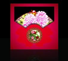 红色中式牡丹婚礼牌