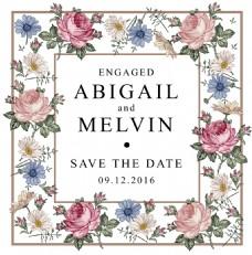 手绘粉色玫瑰花朵婚礼请柬矢量素材