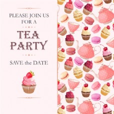 粉色蛋糕派对请柬矢量素材