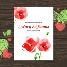 红色花朵复古婚礼邀请函卡片矢量