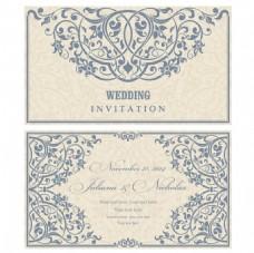 蓝色素雅复古婚礼请柬矢量素材