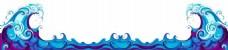 手绘蓝色海浪元素