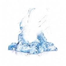 透明蓝色冰块元素
