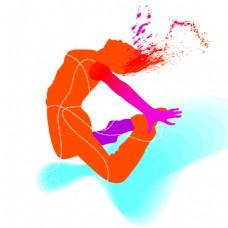 跳起的人抽象彩色体育与舞蹈矢量素材