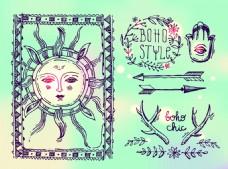 复古太阳表情波西米亚风装饰素材
