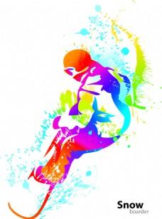 滑雪运动彩色剪影矢量素材