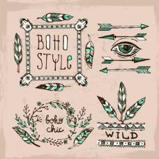 彩色手绘羽毛波西米亚风装饰素材