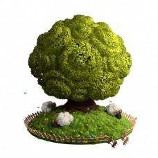 手绘清新大树元素