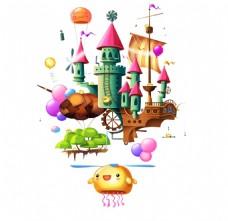 卡通海盗船气球元素