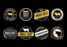牛肉矢量标签
