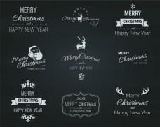 手绘圣诞节标签logo水印装饰矢量元素