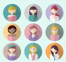 9款女性头像用户矢量图标元素