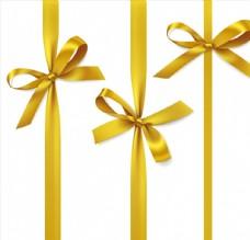 黄色彩带蝴蝶结矢量素材