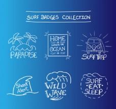 6款创意冲浪徽章设计矢量