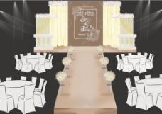 复古清新鹅黄色明亮手绘婚礼效果图