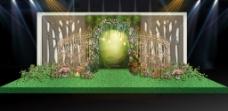 绿色森林系婚礼舞台背景