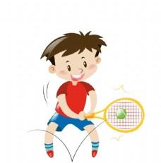 卡通儿童打网球