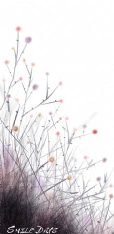 抽象植物图案创意设计PSD分层