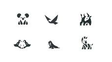 黑白动物图标元素
