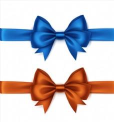 两只彩色绸缎丝带蝴蝶结矢量素材