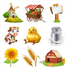 多款卡通农场动物植物矢量素材