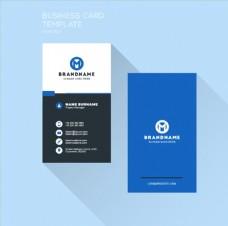 蓝色简约名片设计矢量素材
