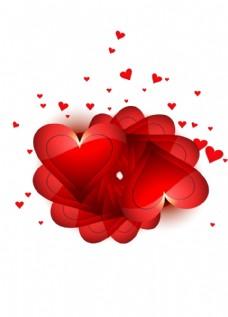 白色浪漫红心形海报背景图