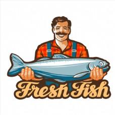 抱着大鱼的男士卡通矢量素材