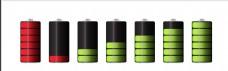 多个彩色电池图标矢量素材
