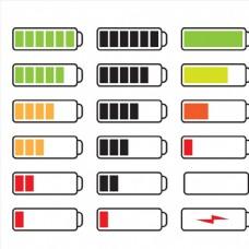 多个电池能源图标图形标志