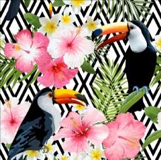 手绘热带植物花卉图案矢量素