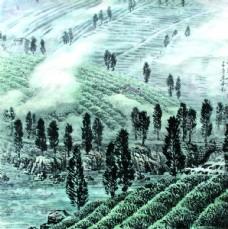 茶山水墨畫